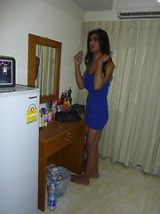 Dark skin femboy Chocolate takes amateur pics in her room