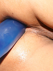 Ladyboy lowers jeans for deep dildo fuck and cum