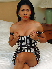 This ladyboy jerks her large hard cock