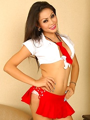 Asian Ladyboy Cheerleader Ola Striptease