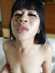Wild Thai Ladyboy with hard penis loves white cock