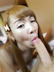 Small boobs Thai Ladyboy with hairy cock enjoys ass fucking